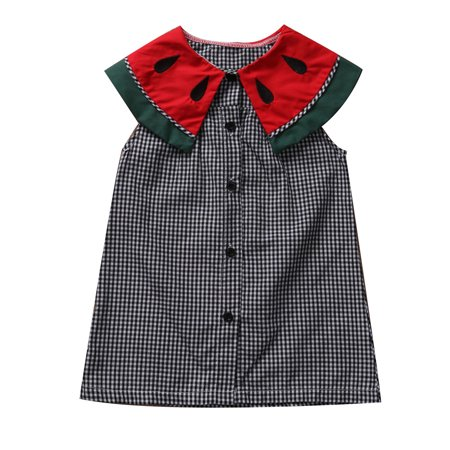 Baby Girls Summer Sleeveless Watermelon Printed Collar Plaid Party Dress Outfits](Plaid Party Dresses)