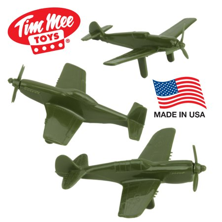 Tim Mee WW2 Fighter Ace Planes - 3 Green Plastic Army Men AIRPLANES Made in