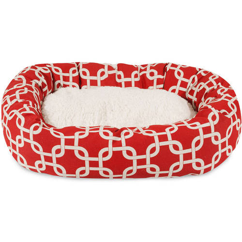 "Majestic Pet 24"" Red Links Sherpa Bagel Bed"