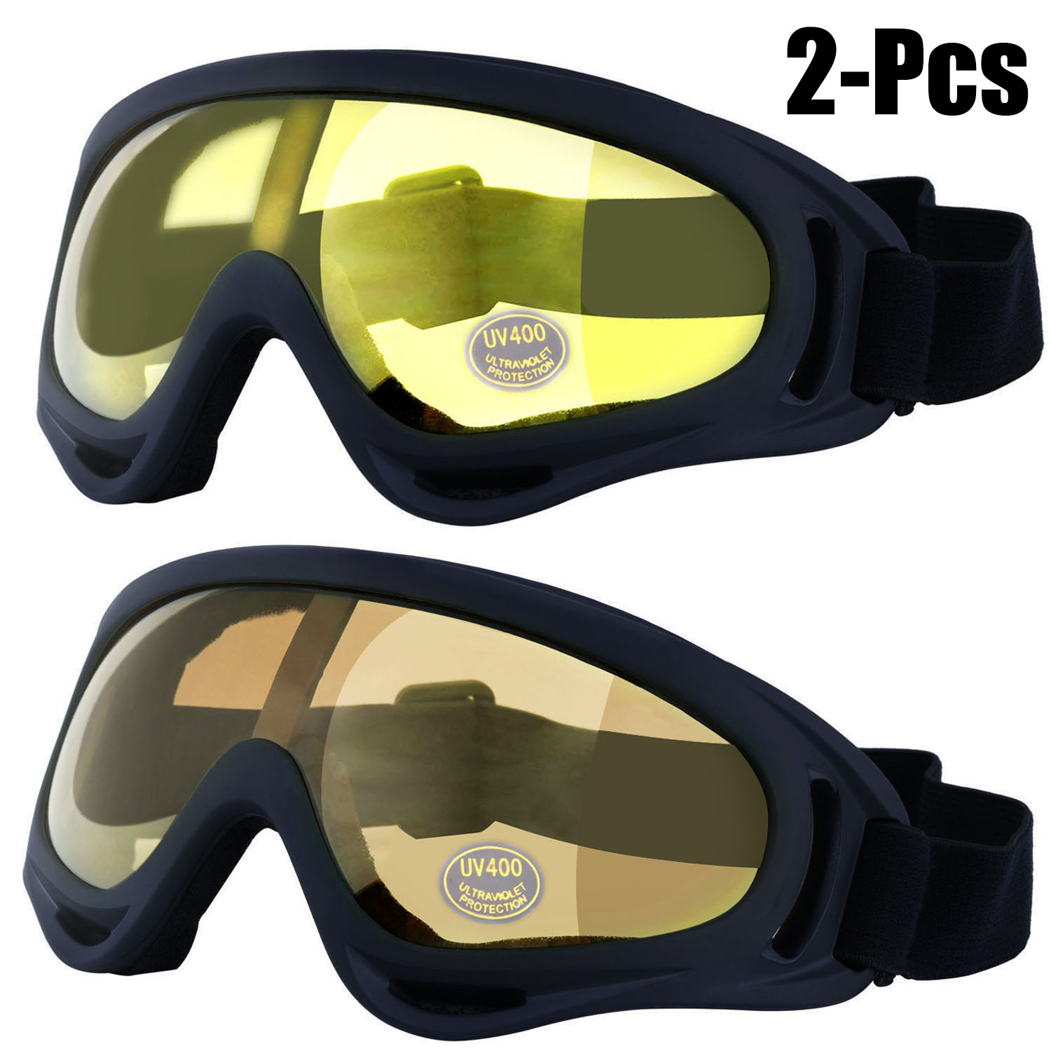 2Pcs Ski Goggles, Justdolife Unisex Professional Outdoor Sports Snowboard Windproof Adjustable UV Protective Cycling Goggles Sunglasses for Women Men