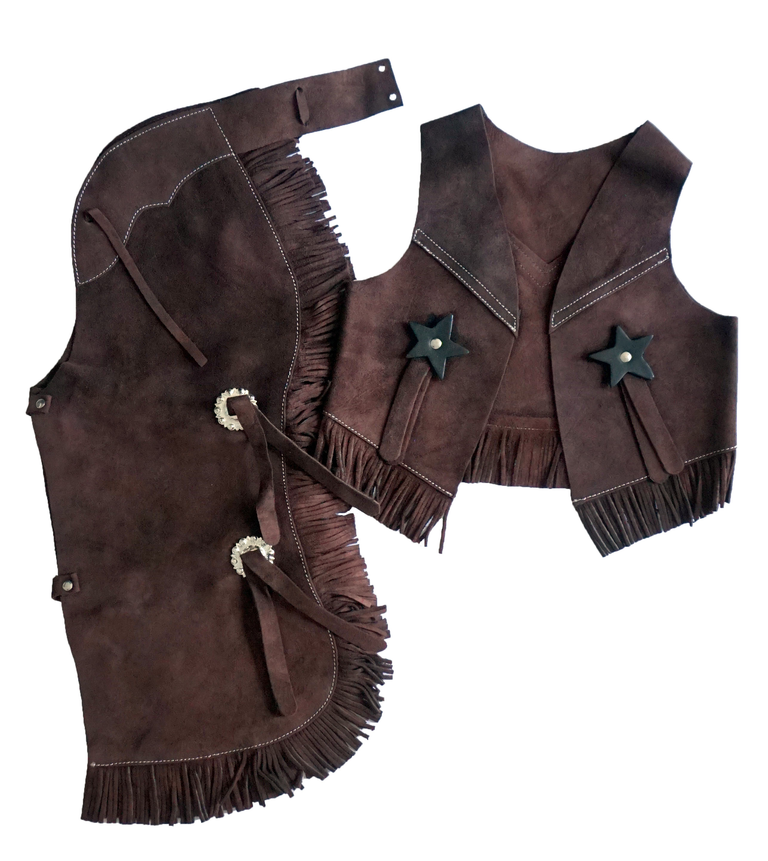 Children's Suede Leather Western Chaps and Vest Set
