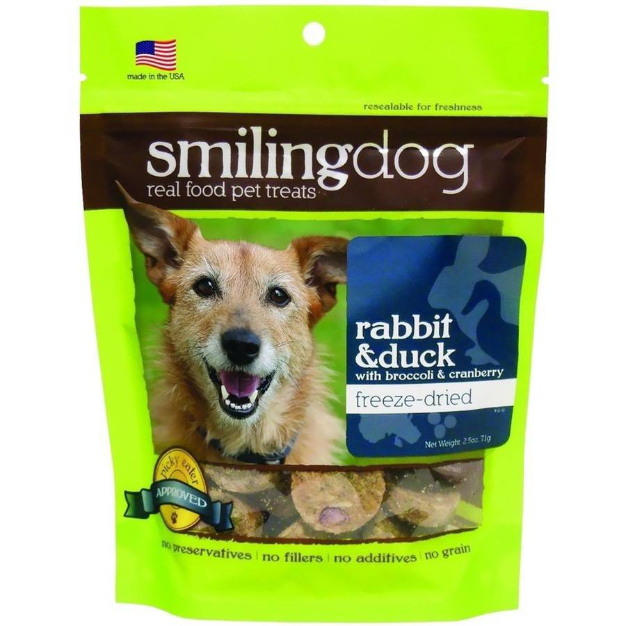 Herbsmith Smiling Dog Freeze-Dried Treats, Rabbit and Duck with Broccoli and Cranberries