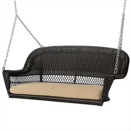 Tan Swing - Jeco W00202S-A-FS006 Espresso Wicker Porch Swing With Tan Cushion