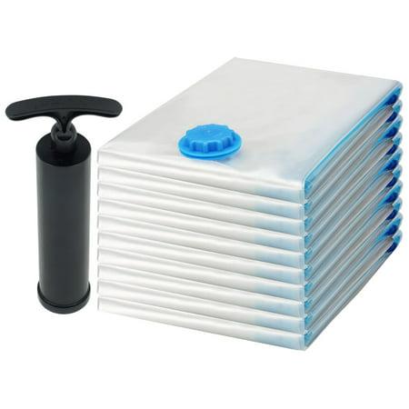 10 Pack Small Felji Space Saver Bags Vacuum Seal Storage Bag Organizer 17x27 inches, 45x70 cm + Free Pump