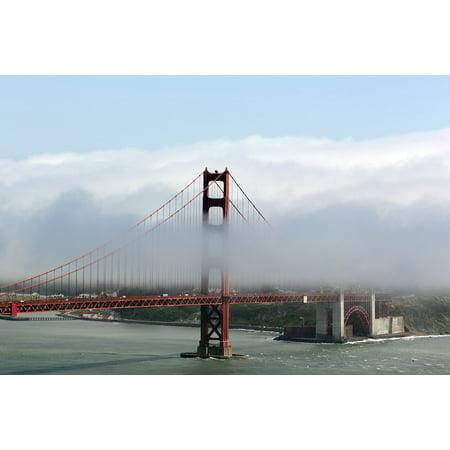 LAMINATED POSTER Golden Gate Bridge Fog Suspension Landmark Poster Print 24 x 36 (Golden Gate Bridge Landmark)