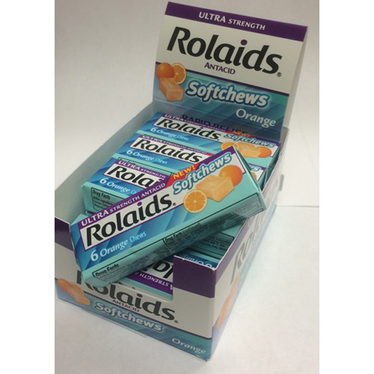 Rolaids Softchews Stick, Orange, 6 Count (Pack of 12)