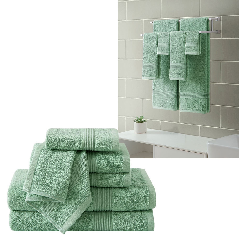Ribbed Luxury Bath Towel 6 Piece Set 100% Cotton, Sage Green by
