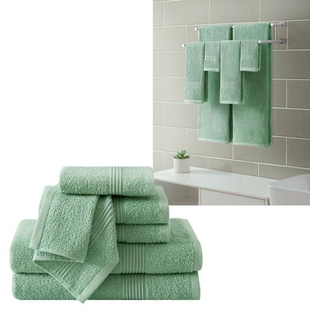 Ribbed Luxury Bath Towel 6 Piece Set 100% Cotton, Sage Green