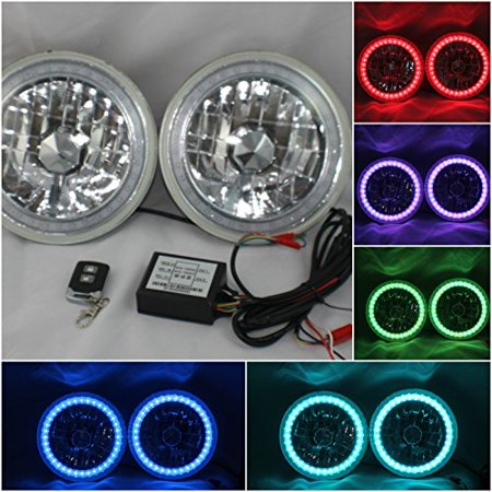 "97-16 Jeep Wrangler TJ JK 7"" RGB MULTI COLOR LED SMD Halo Round Headlights"