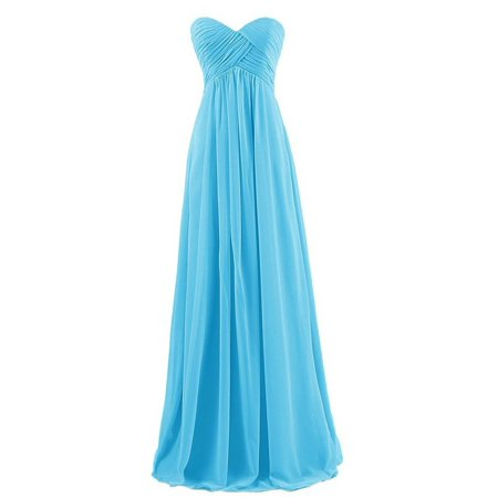 Women's Bridesmaid Dresses Long Sweetheart Prom Gowns Chiffon Strapless (Hollywood Themed Sweet 16 Dresses)