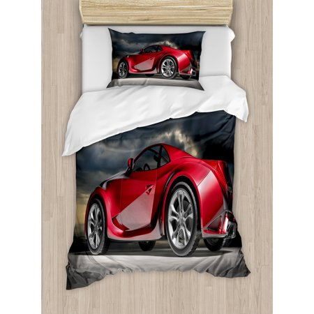 Cars Duvet Cover Set, Modern Red Sports Car on Dramatic Sky Backdrop with Dark Cloudscape Strong Engine, Decorative Bedding Set with Pillow Shams, Red Grey Black, by Ambesonne