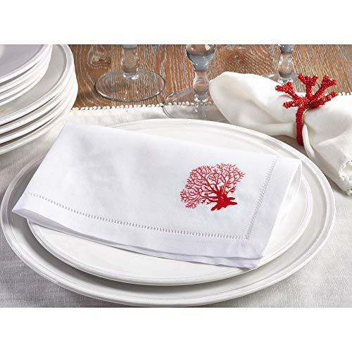 BEACH CORAL Design Embroidered Table Linens