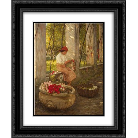 Henry Herbert La Thangue 2x Matted 20x24 Black Ornate Framed Art Print 'A Ligurian Flower Girl' ()