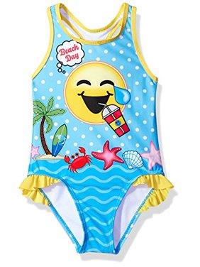 Dreamwave Toddler Girls' Emojination Swimsuit, Sky Blue, 4T