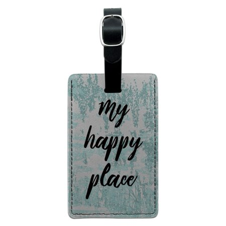 My Happy Place Rectangle Leather Luggage Card Suitcase Carry-On ID (Best Place To Purchase Luggage)