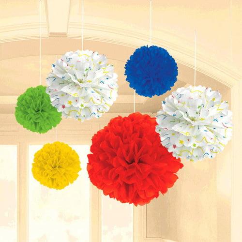 Bright Birthday 'Balloon Fun' Fluffy Decorations (6pc)