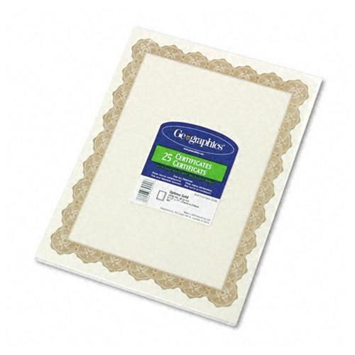 "Geographics Blank Award Parchment Certificate - 8.50"" X 11"" - Inkjet, Laser Compatible - Gold With Golden Seal (GEO39451)"