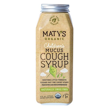 Maty's Organic Children's Mucus Cough Syrup, Organic Cough Remedy, Soothes Throats & Thins Mucus With Organic Honey, Ginger & Immune Boosting Ingredients, Helps Ease Common Cold Symptoms, 6 Oz