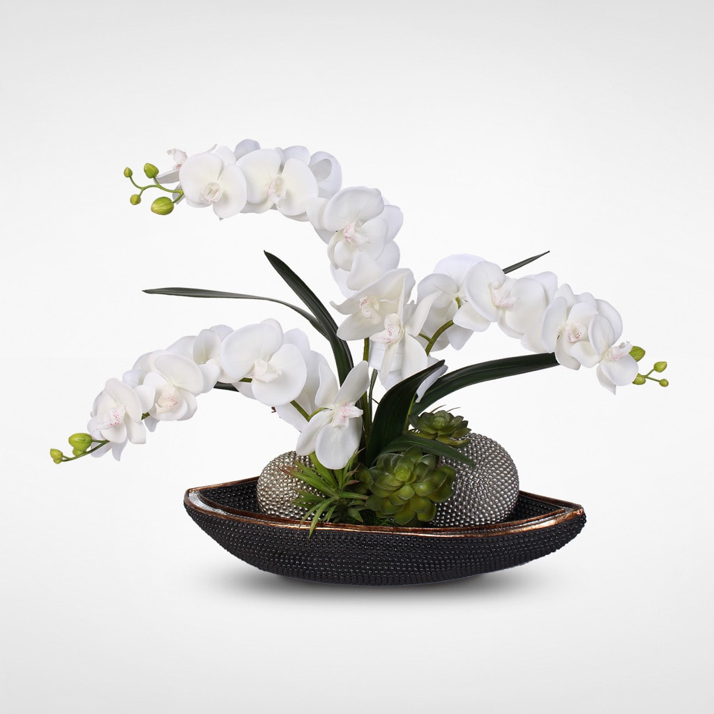 White Silk Orchids with Succulents in Beadwork Bowl