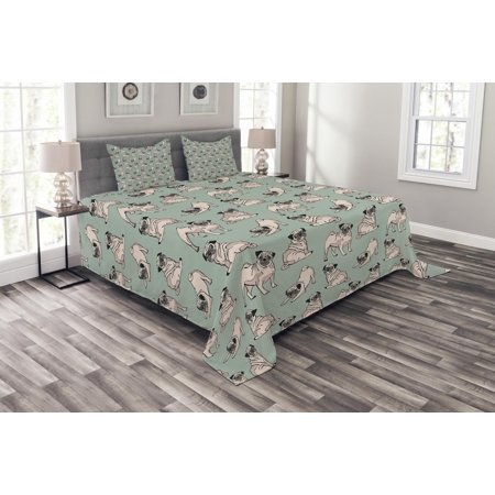 Pug Bedspread Set, Dogs with Various States Sitting Standing Stretching Cute Cartoon Style Pet Drawing, Decorative Quilted Coverlet Set with Pillow Shams Included, Turquoise, by Ambesonne ()