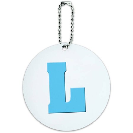 Letter L Initial Baby Boy Block Font Blue Shower Round Luggage ID Tag Card for Suitcase or Carry-On