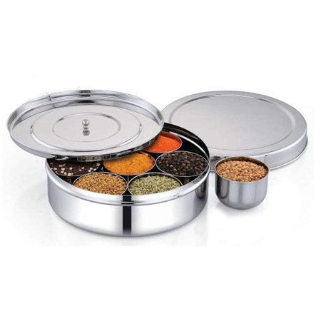 Stainless Steel 7 Container Spice Box with Lid, Indian Masala Dabba for Perfect Kitchen Use Compartment Spice Box by