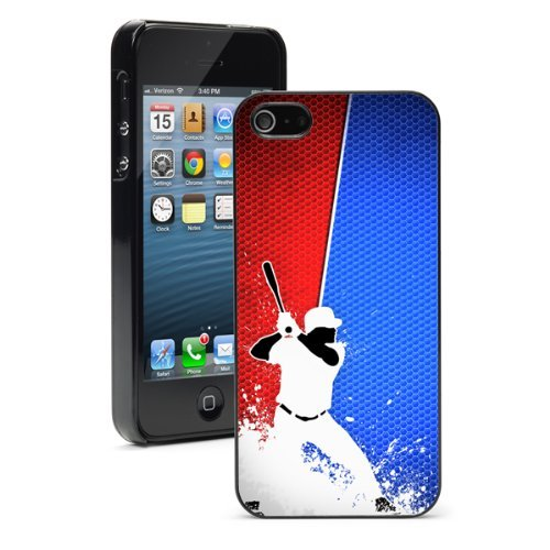 Apple iPhone 6 6s Hard Back Case Cover Blue Red Baseball Player (Black)