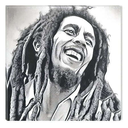 Framed Original Painting - Startonight Canvas Wall Art Black and White Abstract Bob Marley Celebrity Prisma, Dual View Surprise Artwork Modern Framed Ready to Hang Wall Art 100% Original Art Painting 31.50 X 31.50 inch