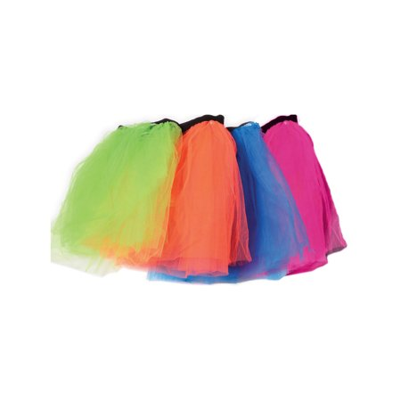 Retro 80s Colorful Neon Assorted Color Tu Tu Tutu Skirt 4 Pack Costume Accessory