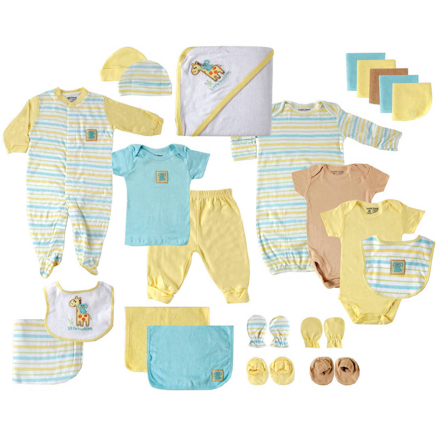Luvable Friends Newborn Baby Neutral Deluxe 24-Piece Gift Cube, Yellow