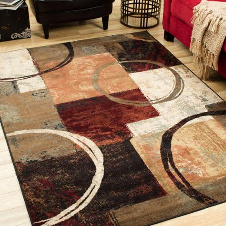 Style Haven Blocks And Rings Brown Black Area Rug 7 8 X 10 10