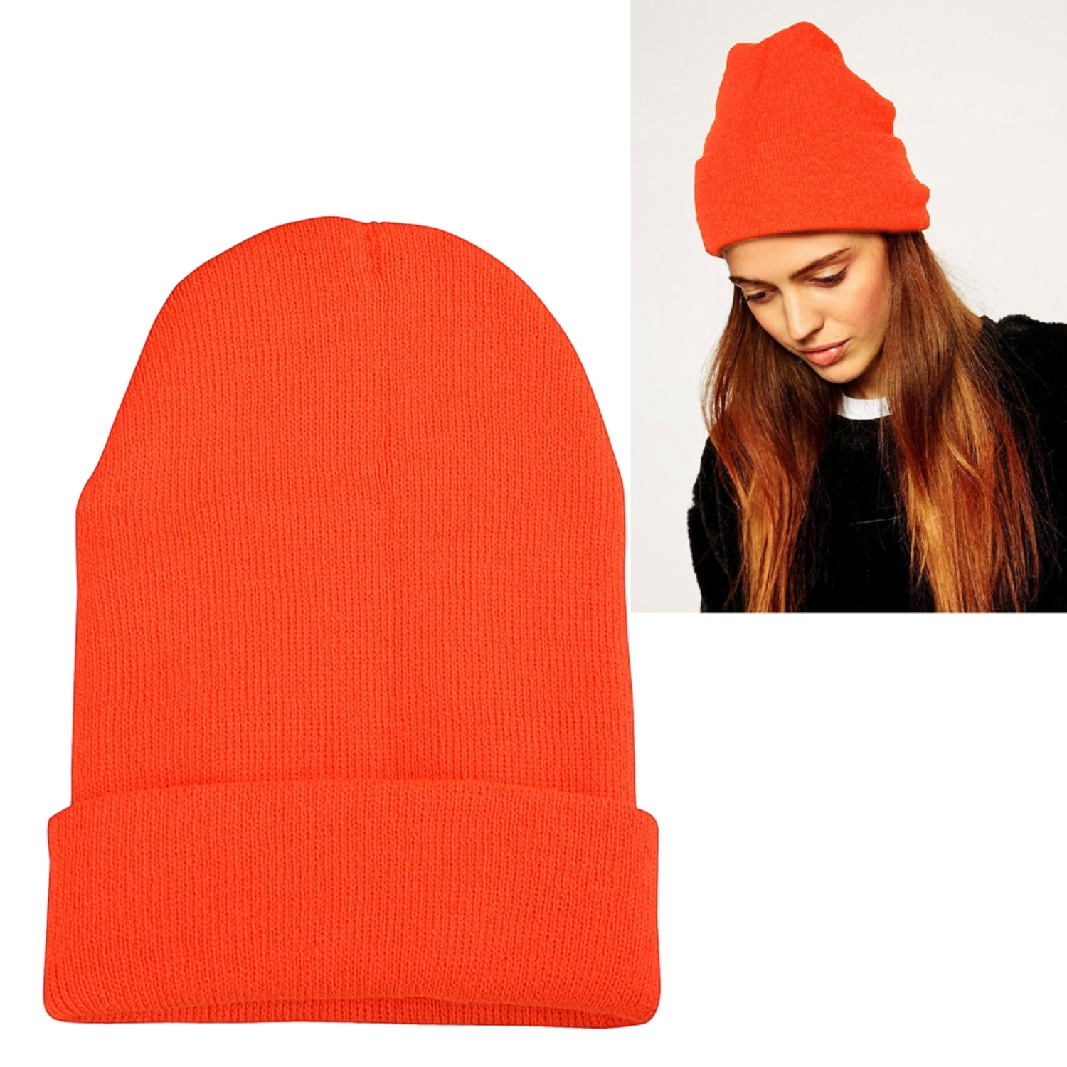 Zodaca Orange Unisex Knitted Beanie Hat