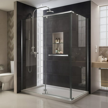 DreamLine Quatra 32 5/16 in. D x 46 5/8 in. W x 72 in. H Frameless Pivot Shower Enclosure in