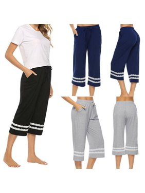 Pudcoco Women's Sleepwear Pajama Lace Pants Sleep Cropped Lounge Bottoms Adjustable