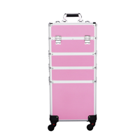 SmileMart Professional Makeup Train Case, Aluminum Rolling Trolley Case, Pink