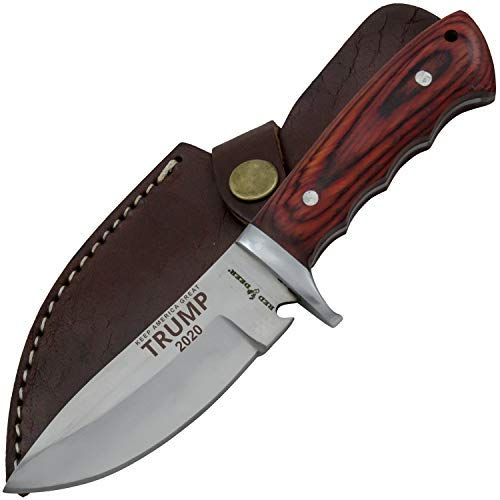 "Trump ""Keep America Great 2020"" 9"" Red Deer Game Skinner Pakka Full Tang Hunting Knife"