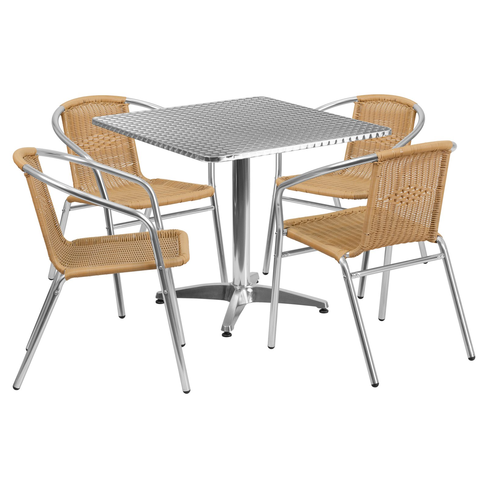 Flash Furniture 31.5'' Square Aluminum Indoor-Outdoor Table with 4 Rattan Chairs, Multiple Colors
