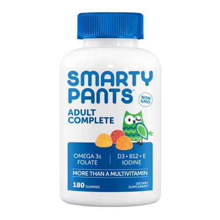 SmartyPants Gummy Vitamins: Adult Complete: Multivitamin, Omega 3s and Vitamin D3, Orange Lemon and Strawberry Banana,180 Ct