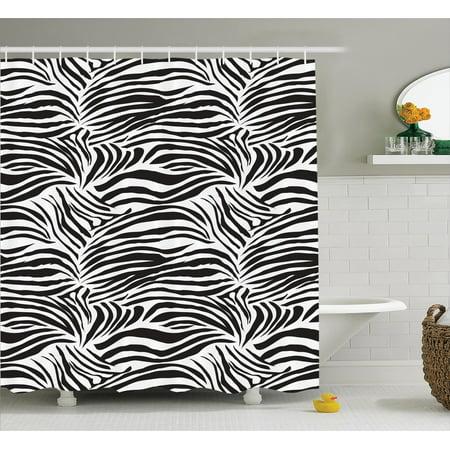 Zebra Print Decor Shower Curtain Set Striped Zebra Animal Print Nature Wildlife Inspired