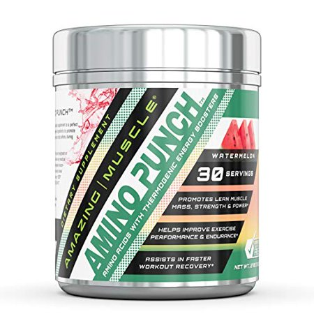 Amazing Muscle Amino Punch (Watermelon) - 270 GMS - Promotes Lean Muscle Mass,Strength & Power - Helps Improve Exercise Performance and Endurance - Assist in Faster Workout - Faster Recovery