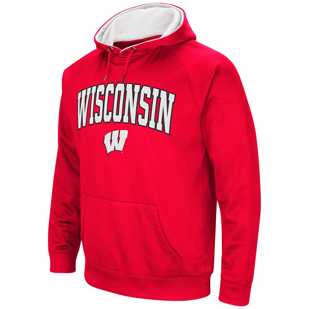 Mens Wisconsin Badgers Fleece Pull-over Hoodie by Colosseum