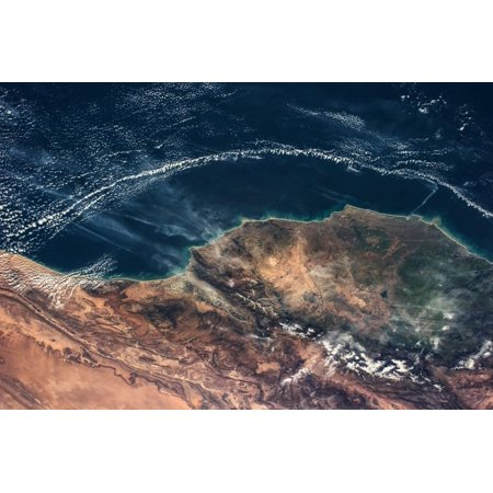 Satellite view of Moroccan Coastline along Atlantic Ocean Print Wall Art ()