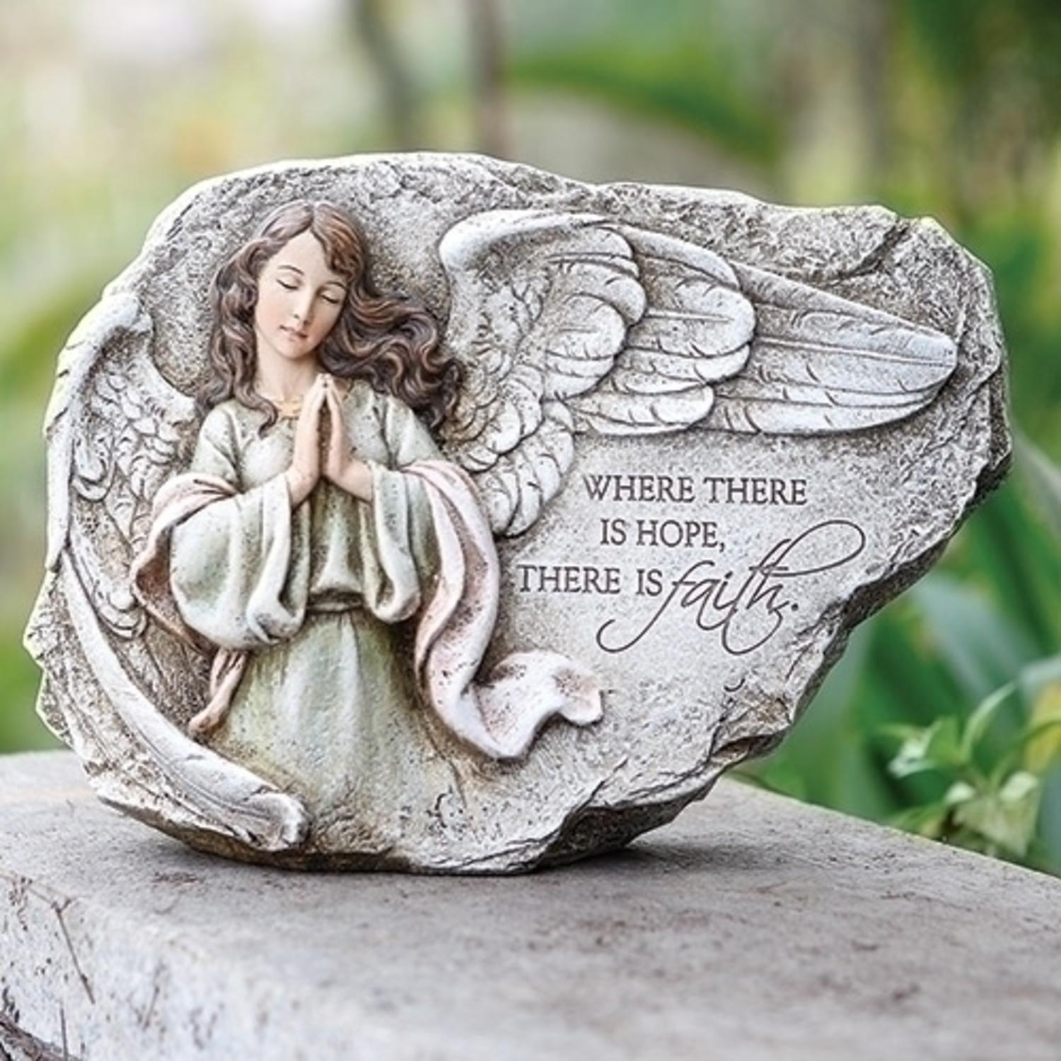 "8.25""  Stone Gray and Mint Green Praying Angel Garden Plaque"