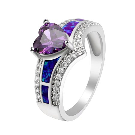 Majestic Purple Heart CZ Lab Created Opal Ring - Ginger Lyne - Majestic Set Ring