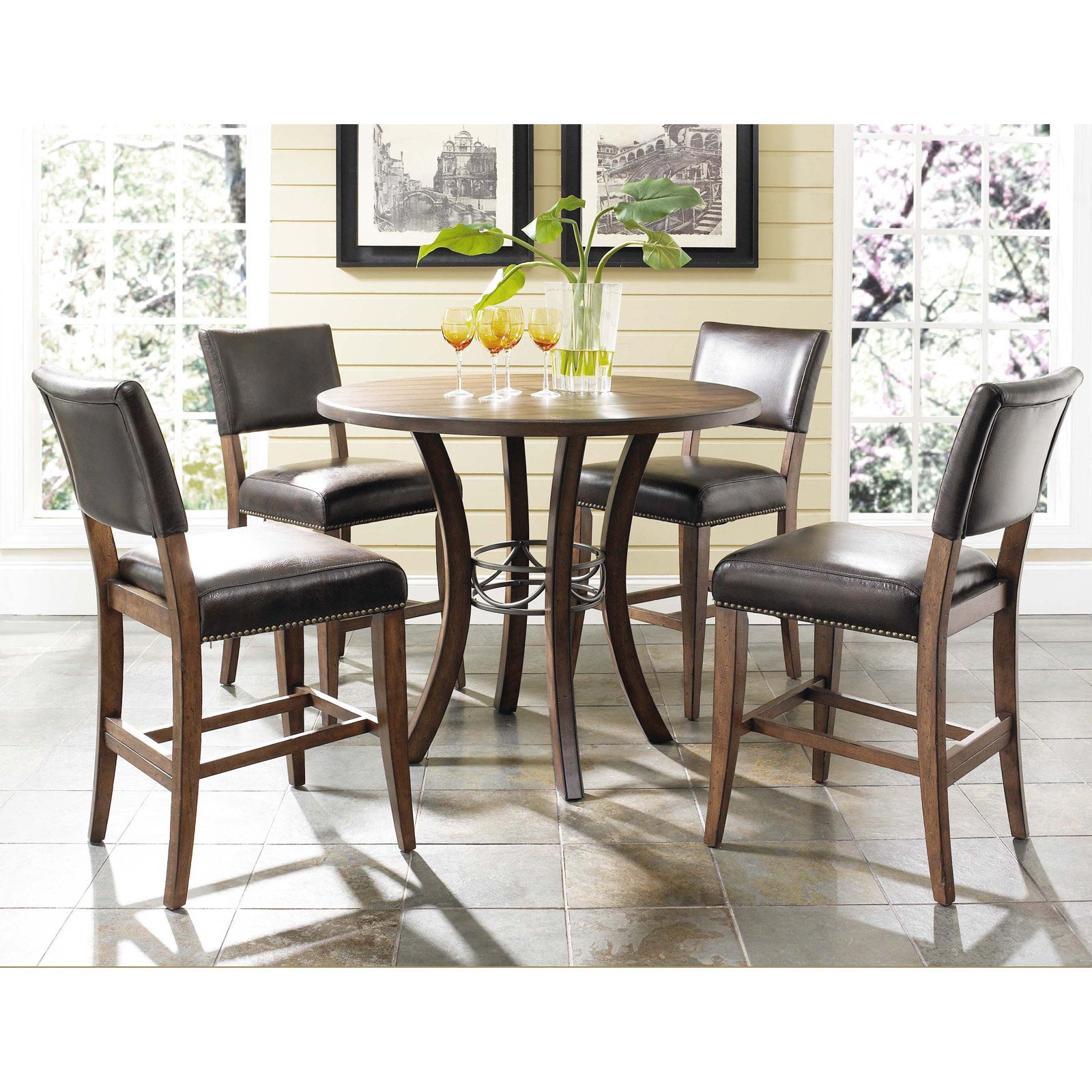 Hillsdale Cameron 5 Piece Counter Height Round Wood Dining Table Set