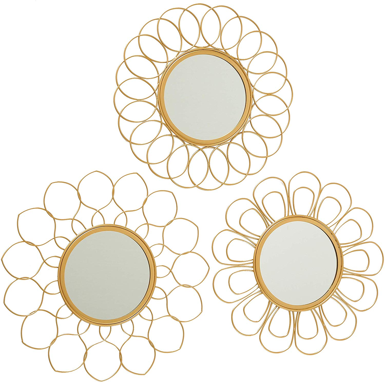 14.5 Inches Diameter Each 1 Inch Profile Whole House Worlds WHW Set of 3 Metal Frame Burst Mirrors Brilliant Glass Glam Gold Durable Iron Keyhole Hanger on Back