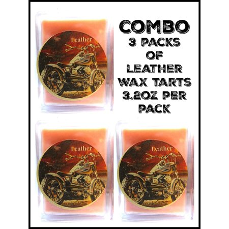 COMBO 3 Packs of Leather 3.2 Ounce Pack of Soy Wax Tarts (6 Cubes Per Pack) - Scent Brick, Wickless (Wickless Soy Candles)
