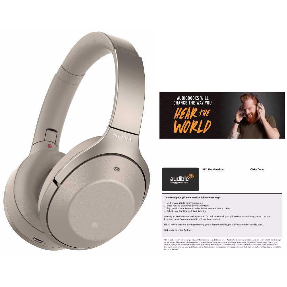 Sony WH-1000XM2 Wireless Noise-Canceling Headphones (Gold) Audible Bundle