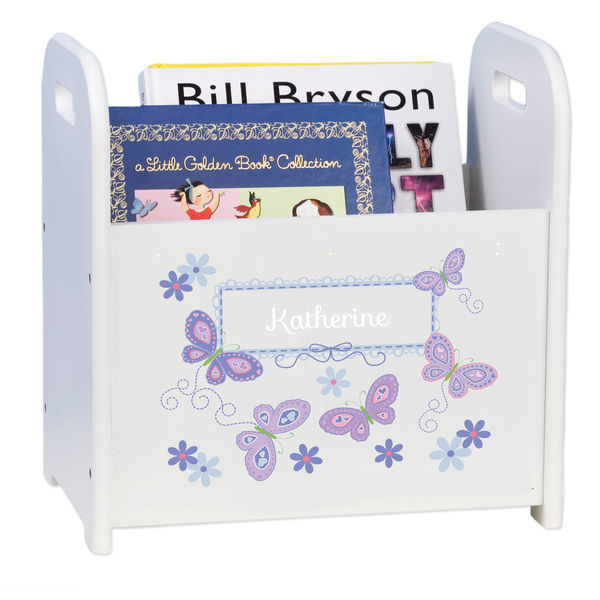 Personalized Butterflies lavender Caddy and Book Rack