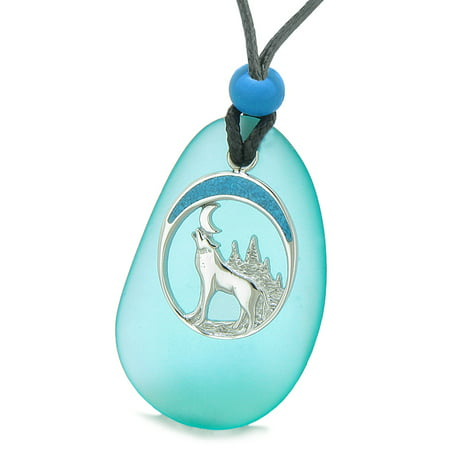 Large Aqua Blue Frosted Sea Glass Howling Wolf Protection Amulet Puffy Water Drop Adjustable